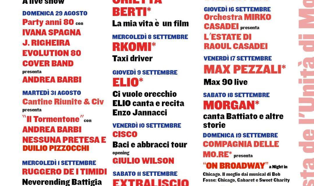 Festa de l'Unità di Modena : Fino al 20 settembre ancora tanti spettacoli